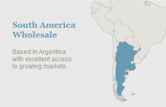 South America Wholesale map